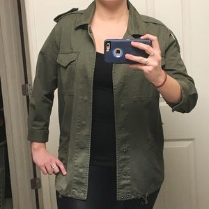 Olive Green Military Jacket- M